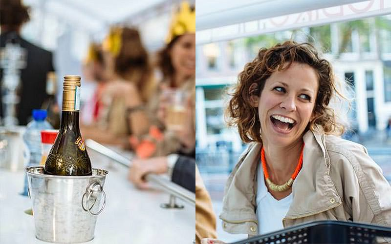 Split image of a bottle of champagne in a silver ice bucket, and a woman smiling