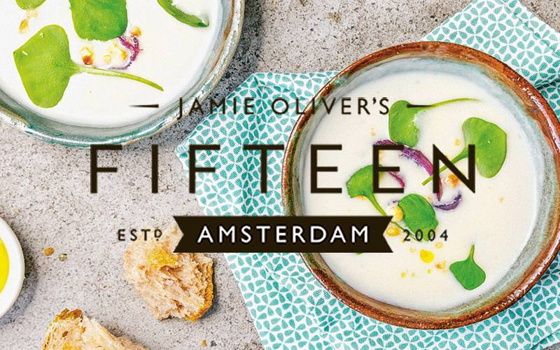Jamie Oliver's Fifteen logo above an image of two bowls of white soup