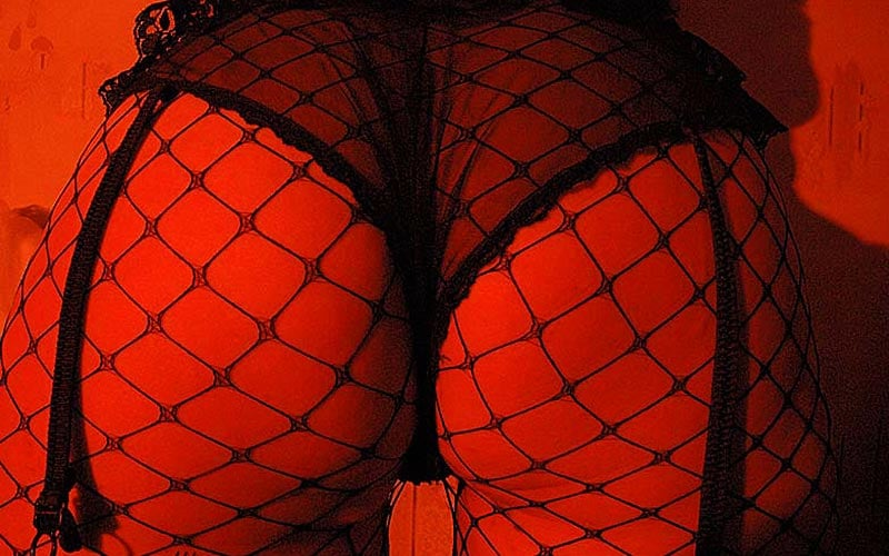 A woman's bottom with suspenders and fish net tights on, illuminated by a red light