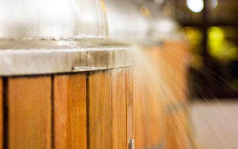 Water falling onto a vat in Kaltenberg Brewery