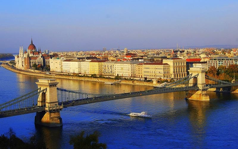 A view of Budapest's river with bridges over
