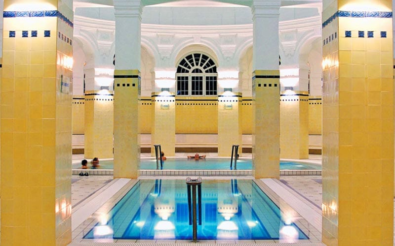 An indoor thermal bath in Szechenyi Thermal Baths