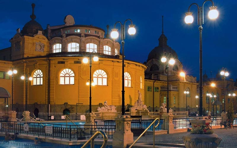 Szechenyi Thermal Baths at nighttime
