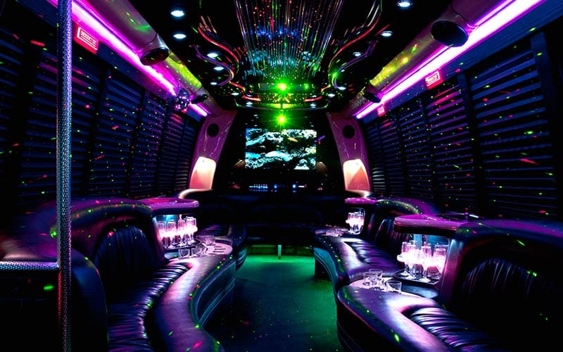 The interiors of a party bus
