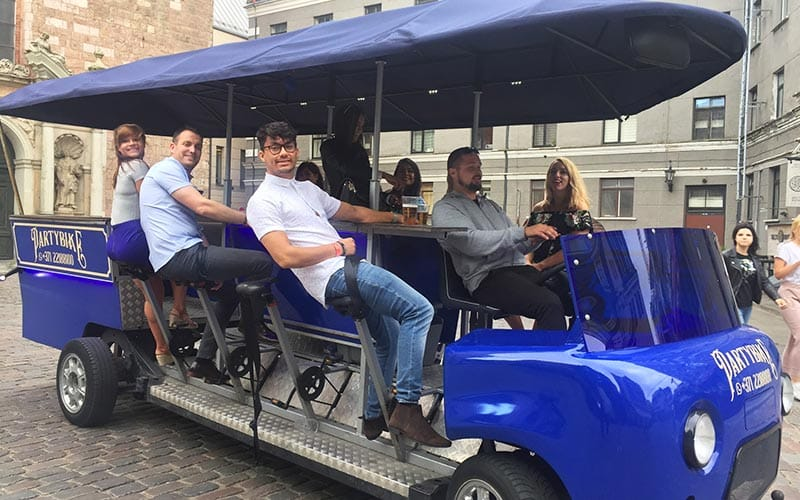 Image of a group on a beer bike