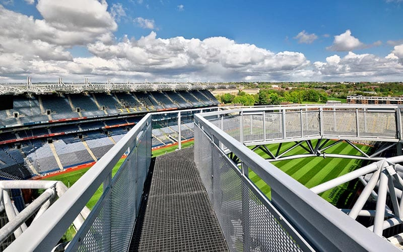 The walkway of the rooftop tour of Croke Park