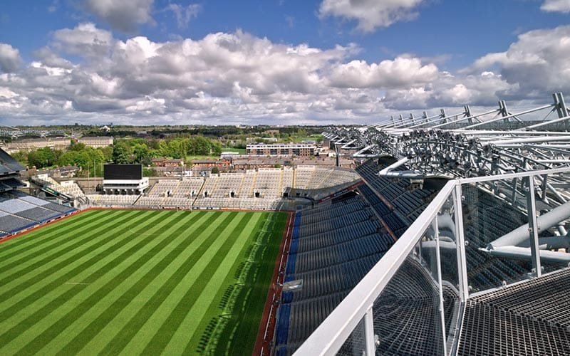 The grass area and rooftop walkway area of Croke Park