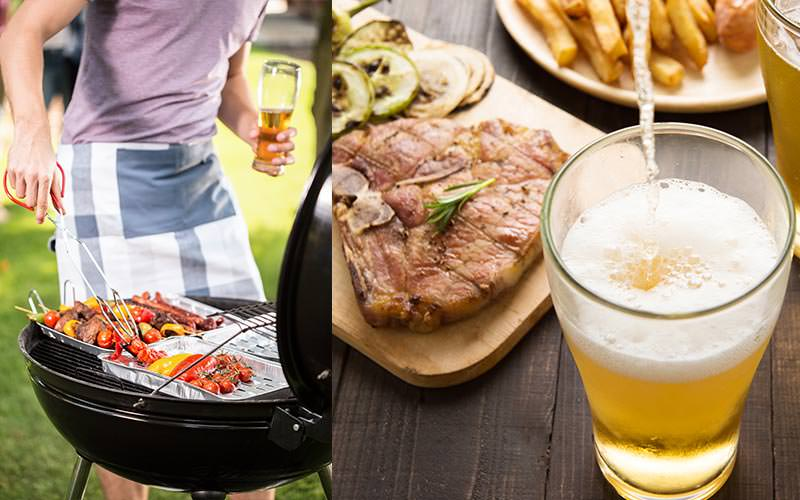 Split image of a man's hand turning over skewers on a bbq, and food set on a table alongside a pint of beer