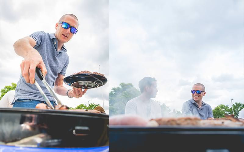 Split image of a man turning over meat on a bbq, and two men sat laughing with a bbq in the front