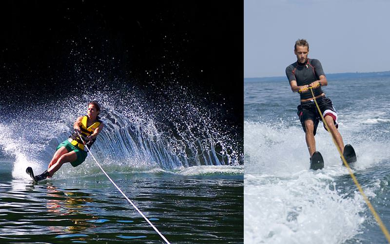 A split image of a woman waterskiing at night and a man waterskiing on the ocean in the day