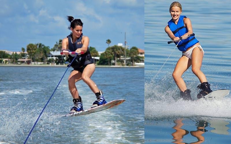 A split image of two girls wakeboarding whilst tied to a cable
