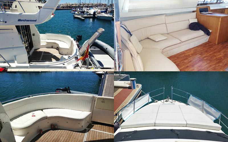 Four tiled images of the exterior and interior of a yacht on a marina
