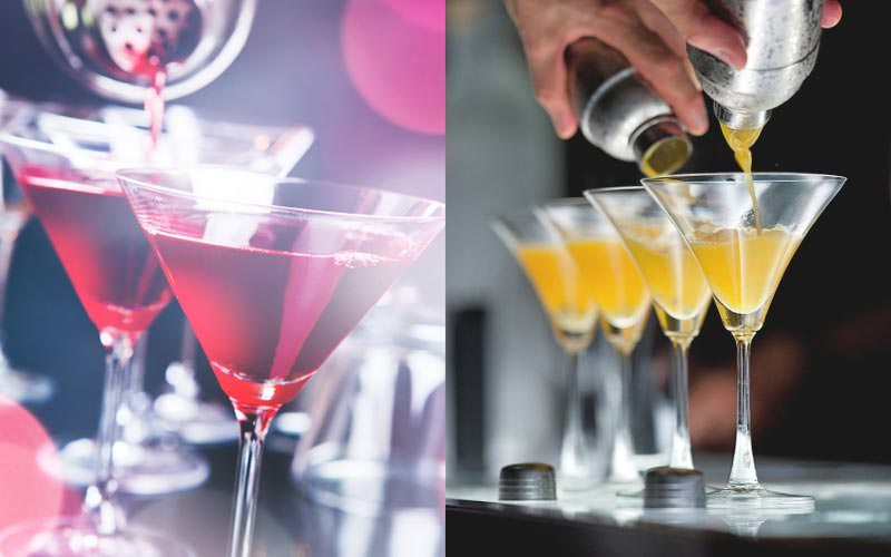 A split image of some yellow and red cocktails being poured out of shakers