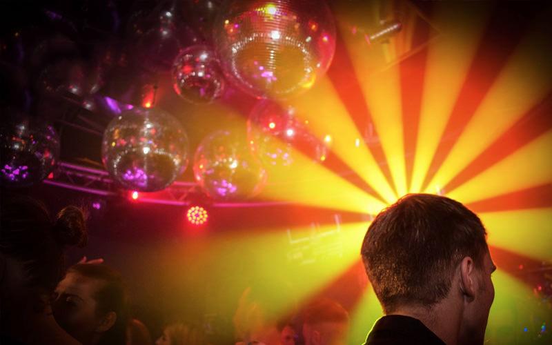 Bright lights inside a nightclub