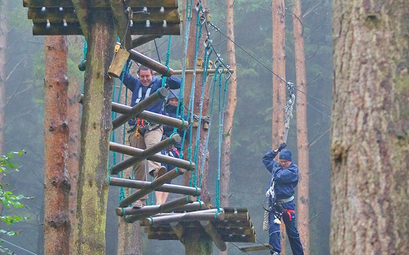 Some people taking part in a treetop assault course