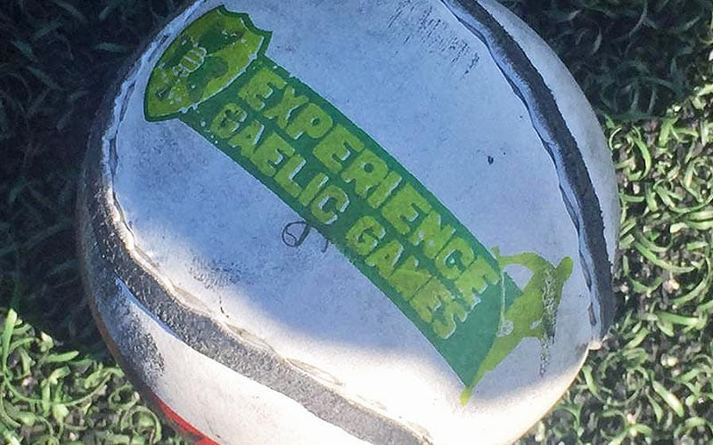 A ball branded with Experience Gaelic Games