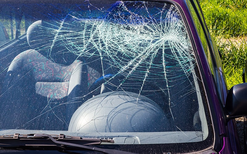 A smashed windscreen of a car