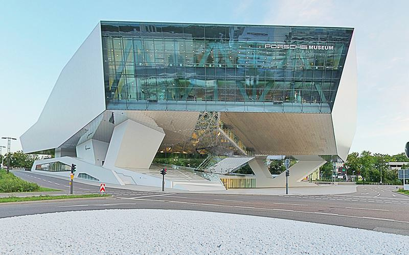 The exterior of the Porsche Museum in Stuttgart