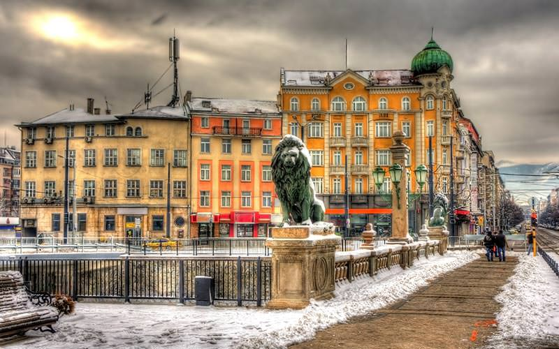 A statue of a lion on a wall in front of some buildings in Sofia
