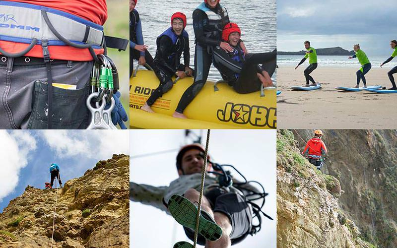 Sixe tiled images - including people abseiling, abseiling equipment, surfing on the beach and a group sat on a banana boat