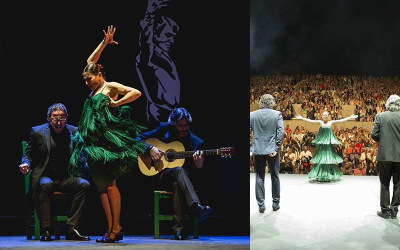 A split image of a woman dancing on stage with two men sitting behind her and the view from behind the performers into the audience