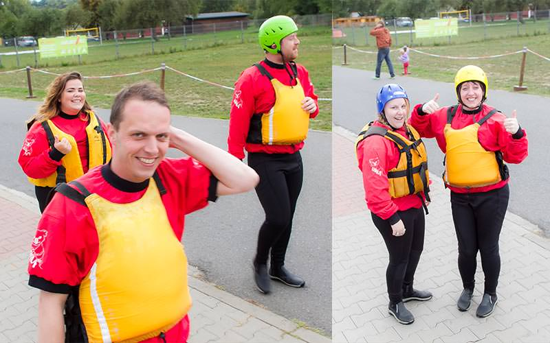 Split image of people in red and black wetsuits and life jackets