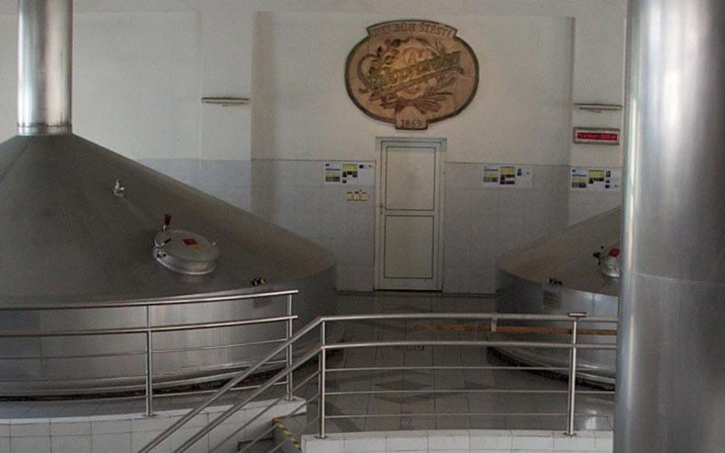 Large vats in Staropramen Brewery
