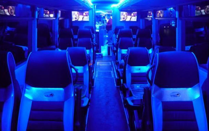 An inside view of a party bus