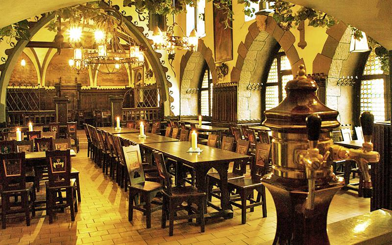 The interior seating area of Ufleku Brewery