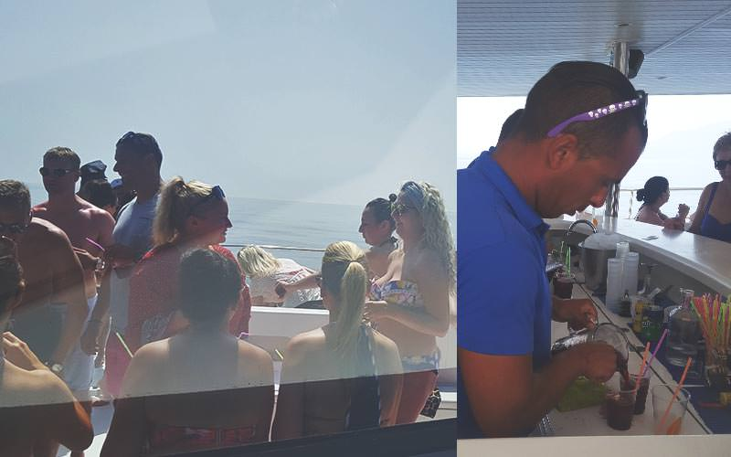 Split image of a bartender pouring a jug of sangria into cups, and people stood on the top deck of a boat