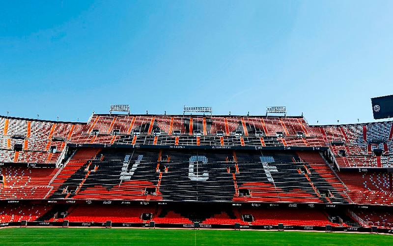 A stand at Mestalla stadium