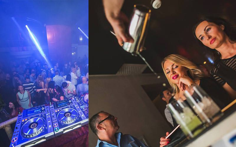 A split image of a DJ's decks and two girls at the bar as their cocktails are poured
