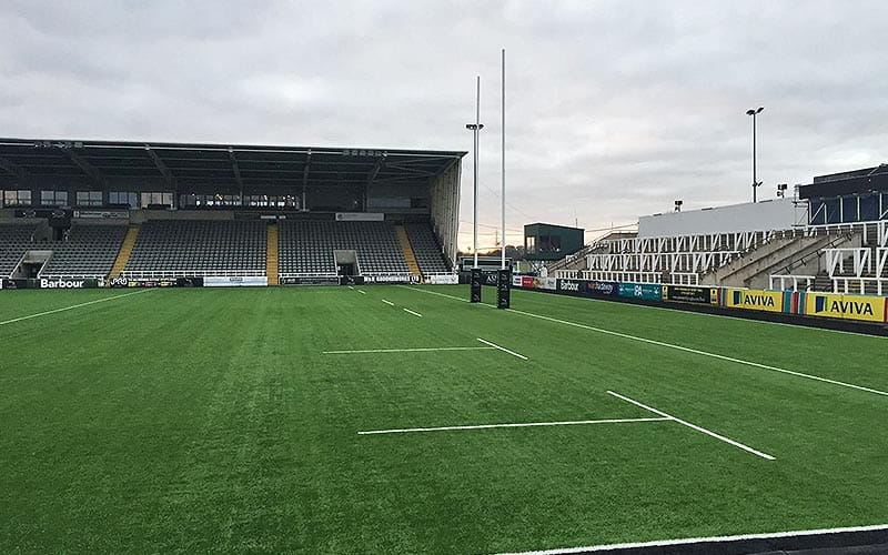 The artifical turf at Newcastle Falcons home Kingston Park.