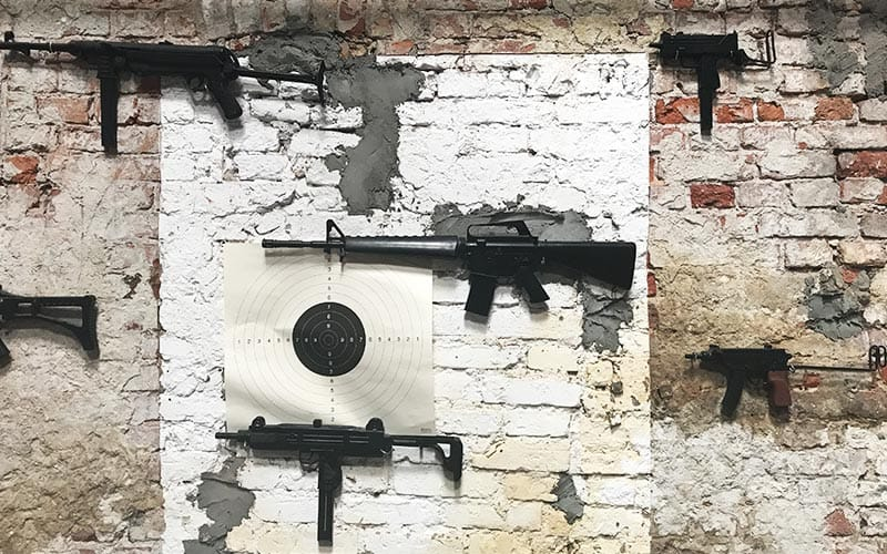 Some weaponry lined up on the walls
