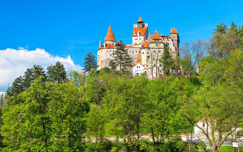 A view of Dracula Castle in Transylvania