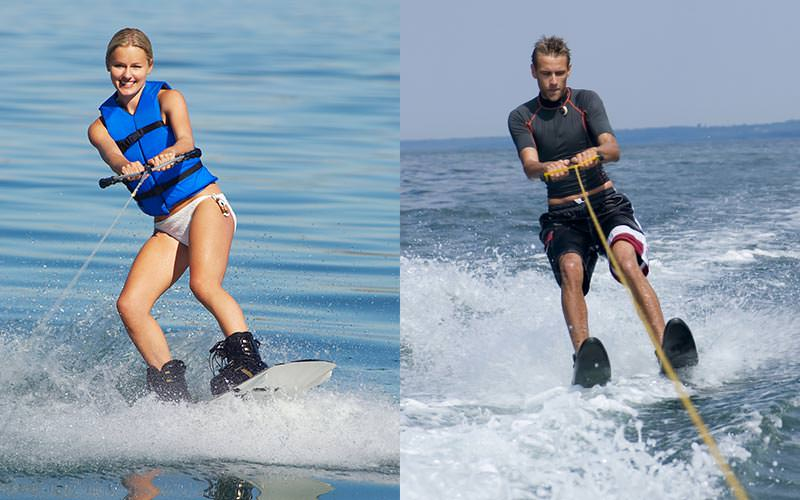 Split image of a man and a woman wakeboarding