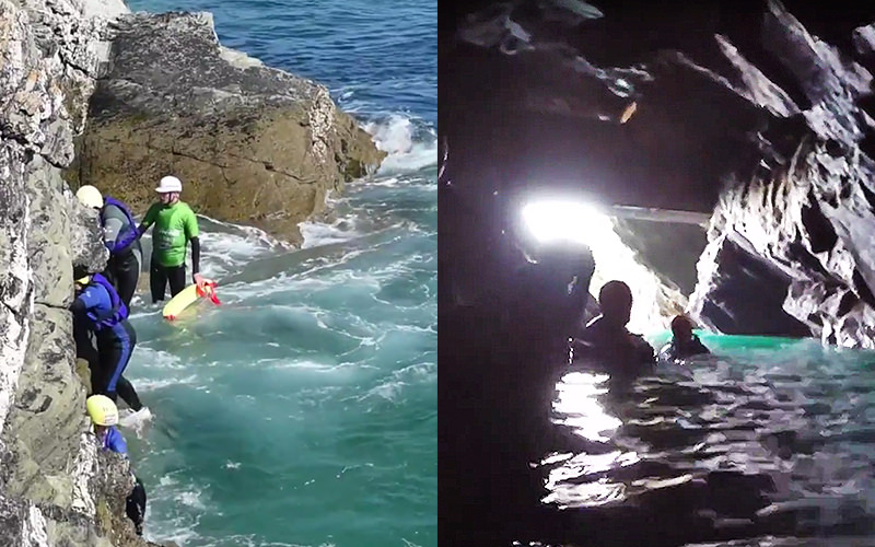 Split image of people in water in a cave, and climbing up the side of a cliff
