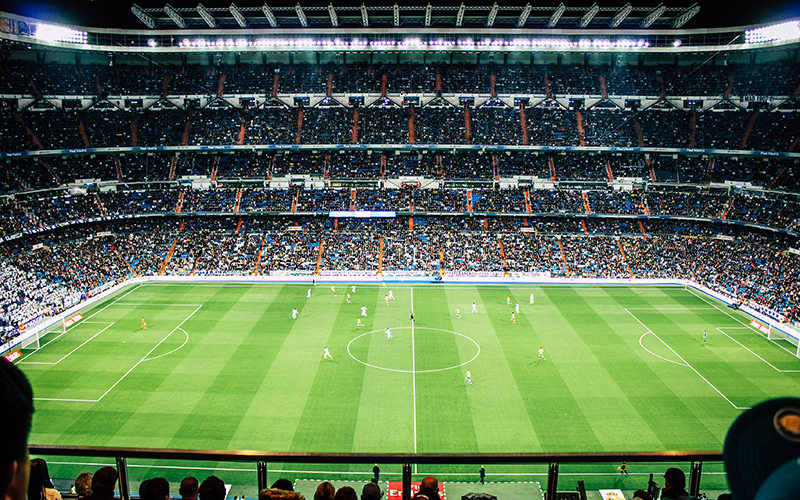A view from the stands for Real Madrid football stadium while a match is being played