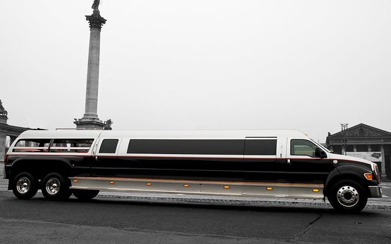 A stretch limo outside one of Budapest