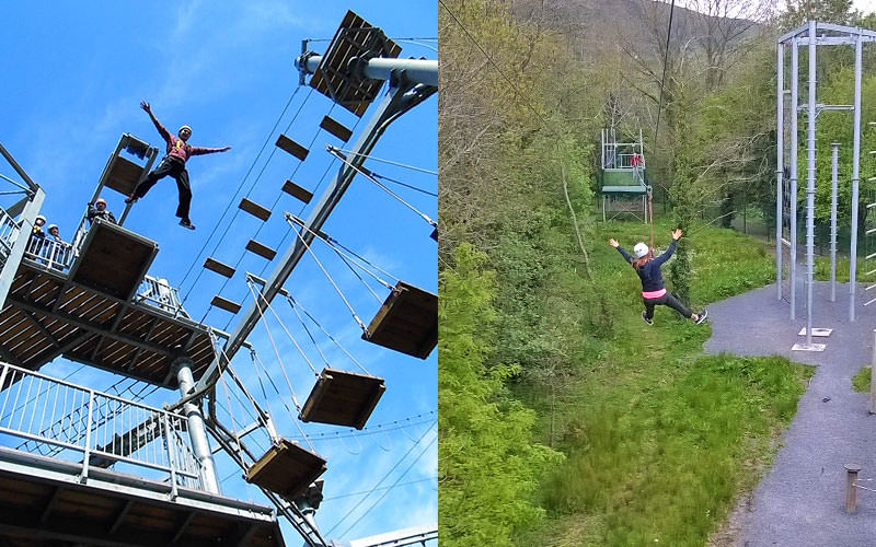 A split image of a man jumping off a very high building and a woman on the 90 metre zipline