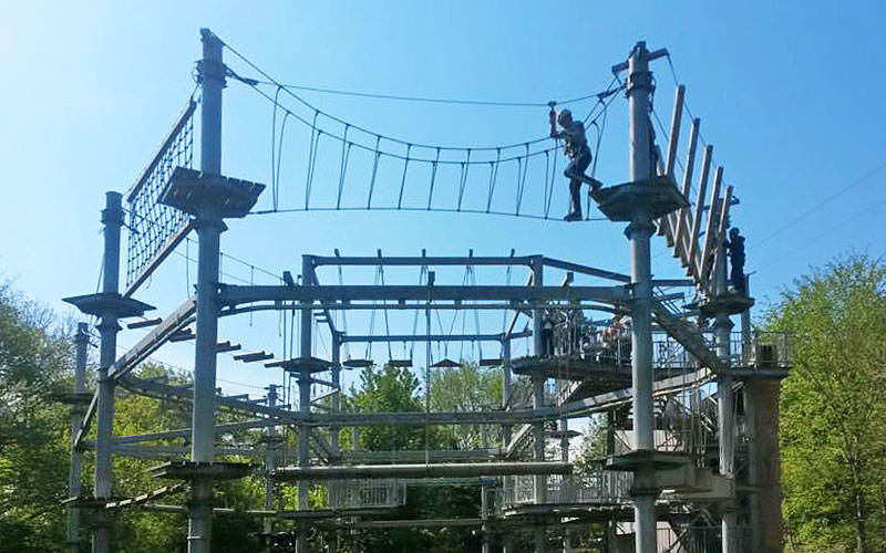 People partaking in a high ropes course