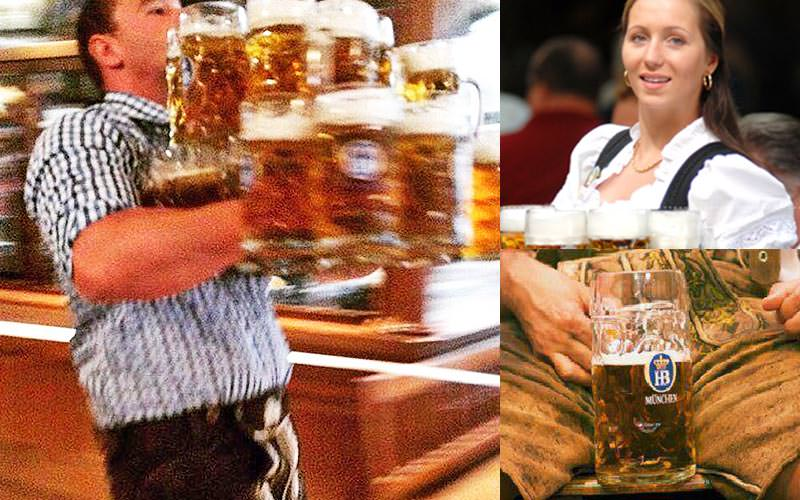 Two images of a man and woman carrying full beer steins, and a man holding a beer stein