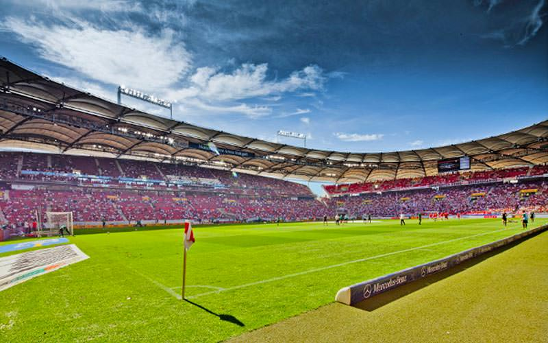 The pitch at the Mercedes Benz Arena, taken from the sidelines