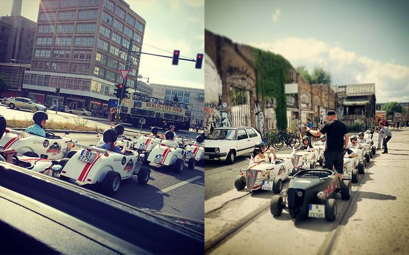 Split image of people riding hot rods in the street