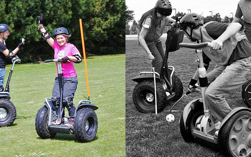 Split image of a woman driving a Segway on grass, and a black and white image of two men playing Segway Polo
