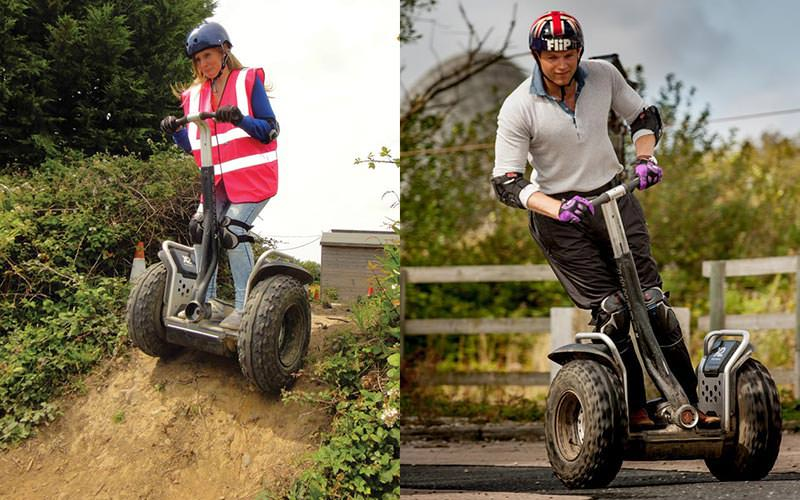 Split image of a man and a woman riding a Segway