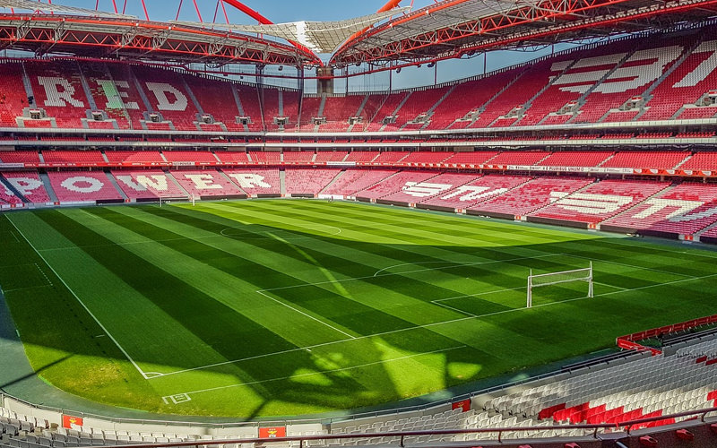 A pitchside view of Benfica Football stadium