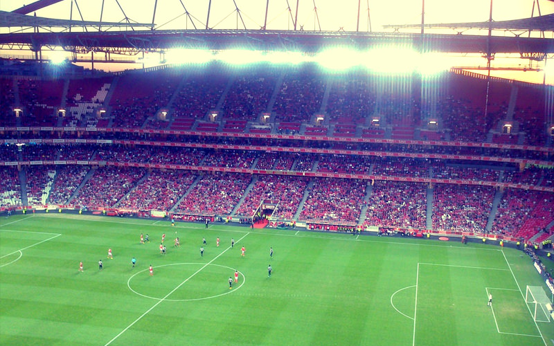 A view from football seats in Benfica's Football stadium while a match is being played