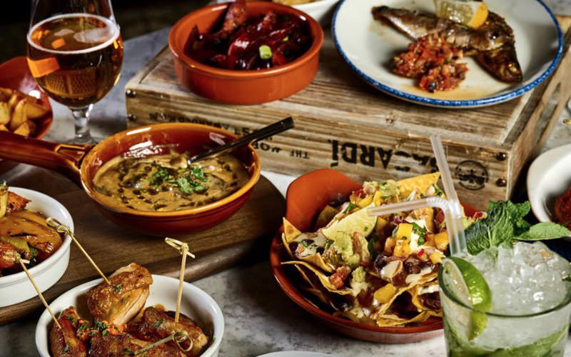 A large selection of small plate foot including nachos and chicken