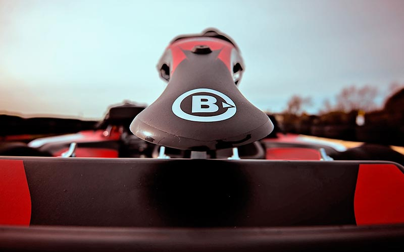 The B logo on a kart at Brooklands Go Karts